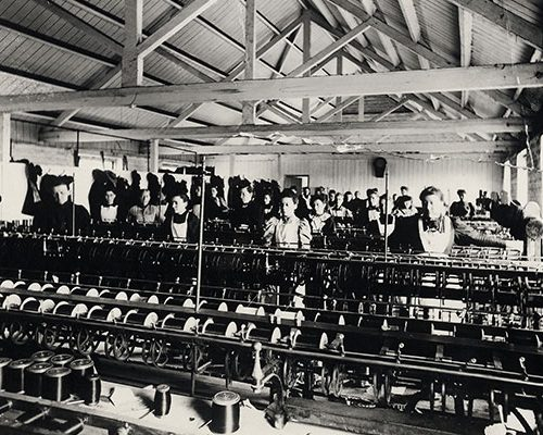 Silk mill staff at work