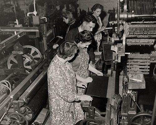 Silk mill staff weaving umbrella silk